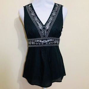Sheer Embroidered Black Summer Top